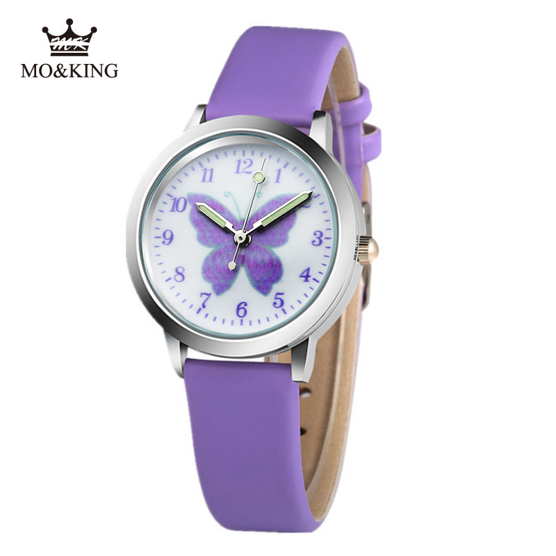 Hello Cartoon Pattern Children's Boys Girls Kids Purple Butterfly Quartz Wrist Watch Clock Gifts Bracelet Mickeyable