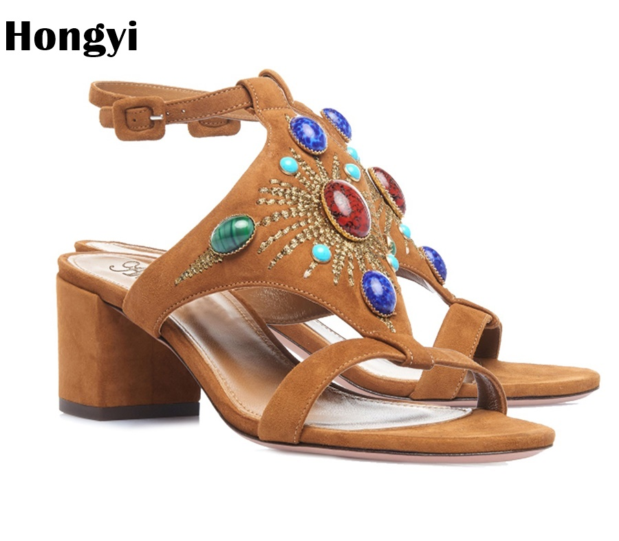 Hongyi Sexy Women Sandals High Heels Shoes Brand Rhinestone Heeled Sandals Woman Flock Open Toe Ankle Strap Party Shoes Female crystal queen sexy women sandals high heels pearl rhinestone thin heel sandals woman flock open toe ankle strap party shoes page 4