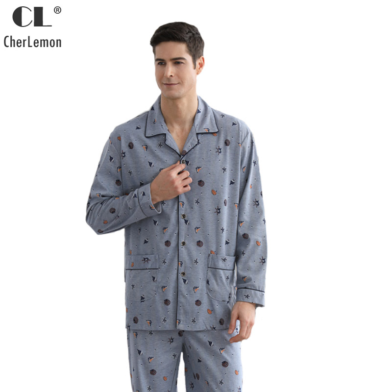 CherLemon Mens Spring Long Sleeve Cardigan Knitted Cotton Pajama Sets Male Scallop & Stars Printed Casual Lounge Wear Large Size