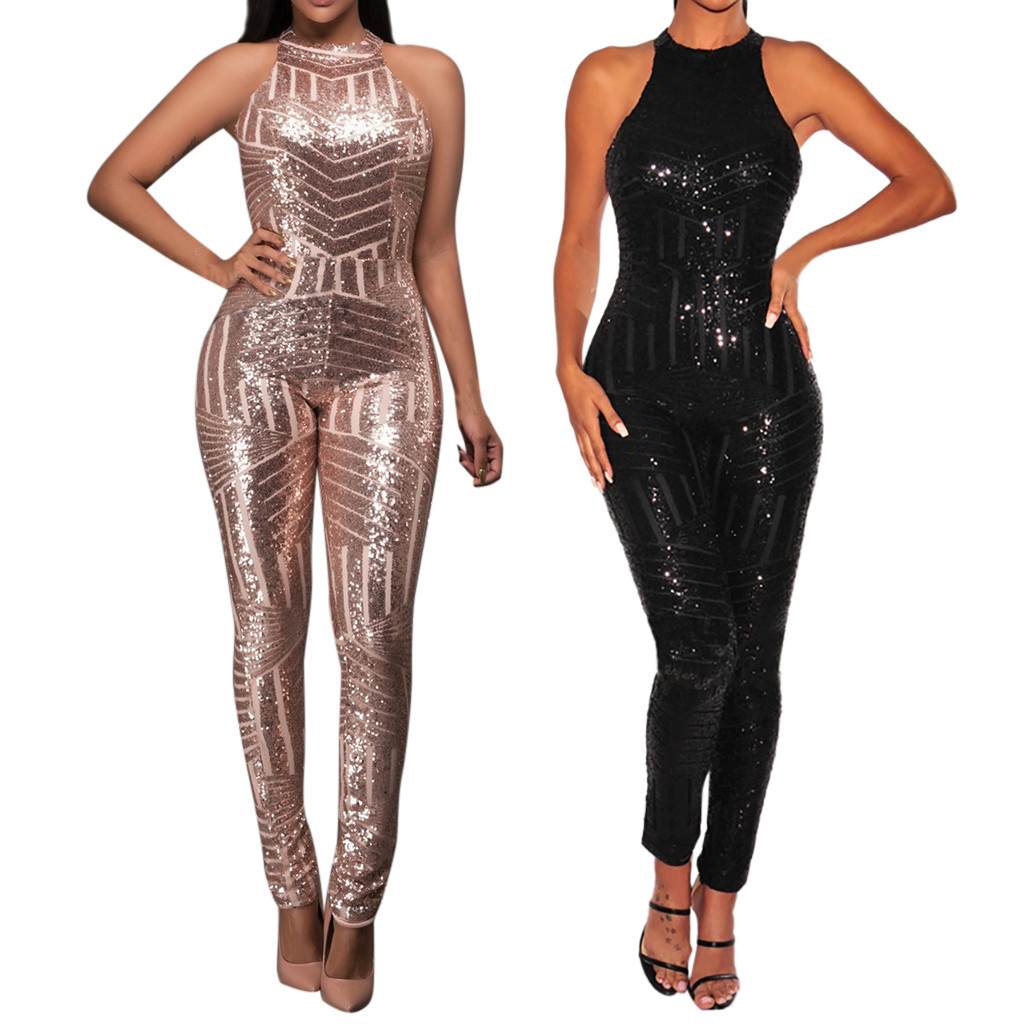Sequins Jumpsuits Women Sexy Overalls Rompers Lady Slim Jumpsuit Halter Fitness Bling Pole Dancing Onesies Clubwear Off Shoulder