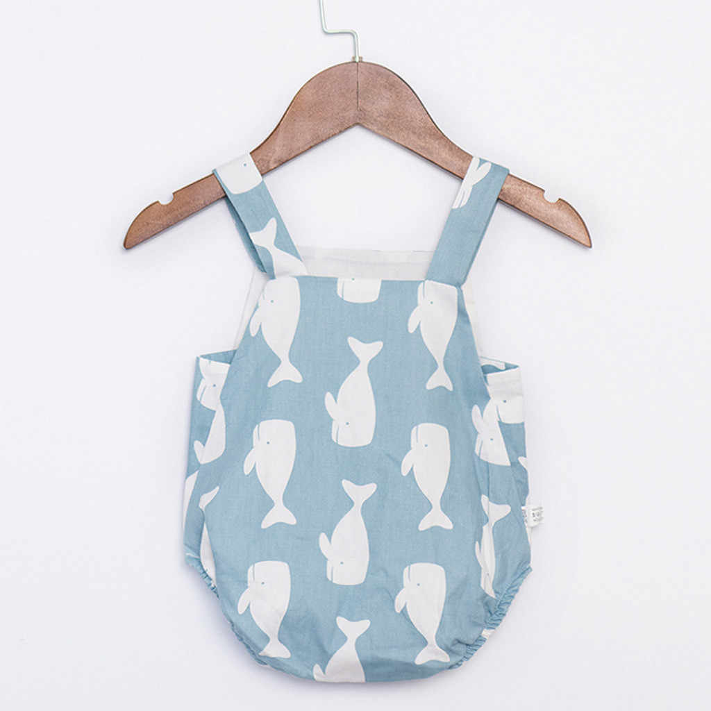 Recién Nacido bebé niña chico ropa de dibujos animados impreso sin mangas sin espalda hombro mono ropa de algodón y lino