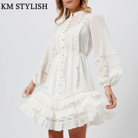 [IN STOCK] Australia Zim Multi layer Ruffled Dress 2018 Puff Sleeve White Temperament Lace Panel Lace A line Dress