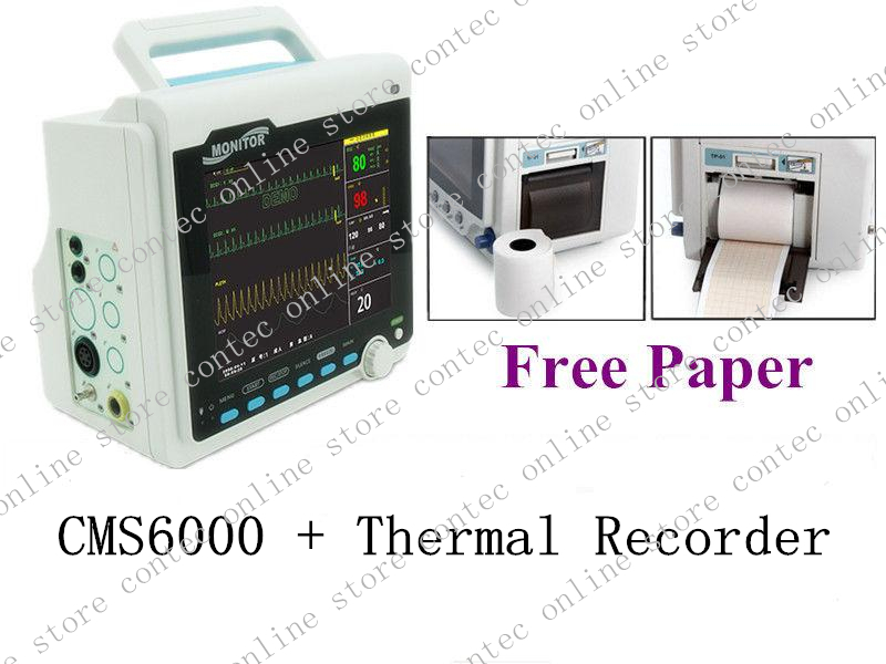 CE 8.4 TFT Multi-parameter Patient Monitor ECG/EKG,Spo2,NIBP,Rulse Rate CONTEC CMS6000+Thermal Recorder thermal printer free 1 printer paper for contec multi parameter patient monitor