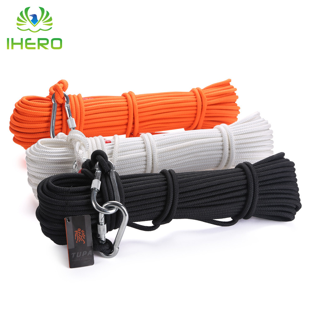 8mm Steel Core Composite Rope 9KN Home Emergency Lifesaving Fire Escape Survival Safety Rope with Carabiners, 10m/pcs hinda family lifeline 10mm wire rope core fire protection safety rope escape rope down device