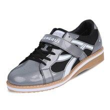 Обувь для тяжелой атлетики размера плюс 35-45, мужская обувь для тренировки приседания, кожаная нескользящая обувь для тяжелой атлетики, тренировочные кроссовки