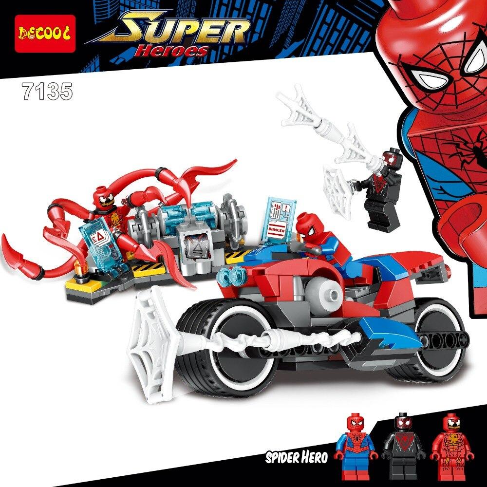 Novo marvel superheros compatível com legoingly 76113 spiderman bicicleta resgate figuras blocos de construção tijolos brinquedos para crianças