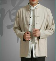 Men Uniform chinese Linen cloth Long sleeve coat Traditional chinese clothing for men 3 Colour