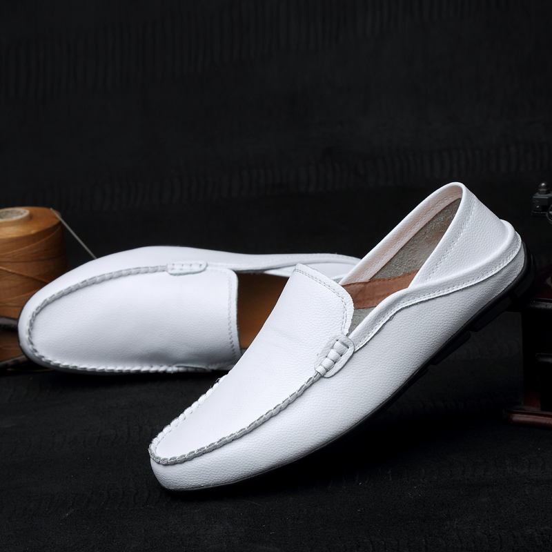 New Arrivals Men's causal Shoes Leather Luxury Brand Spring Loafers Slip On Blue Flats Moccasins For Men Plus Size EUR 45 46 47 breathable men s dress causal shoes leather luxury brand mens loafers moccasins slip on men soft shoe flats for man