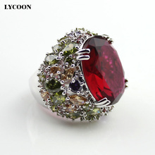 LYCOON новые кольца с большими красными кристаллами элегантное Королевское кольцо посеребренное роскошное красочное кольцо с кубическим цирконием для женщин