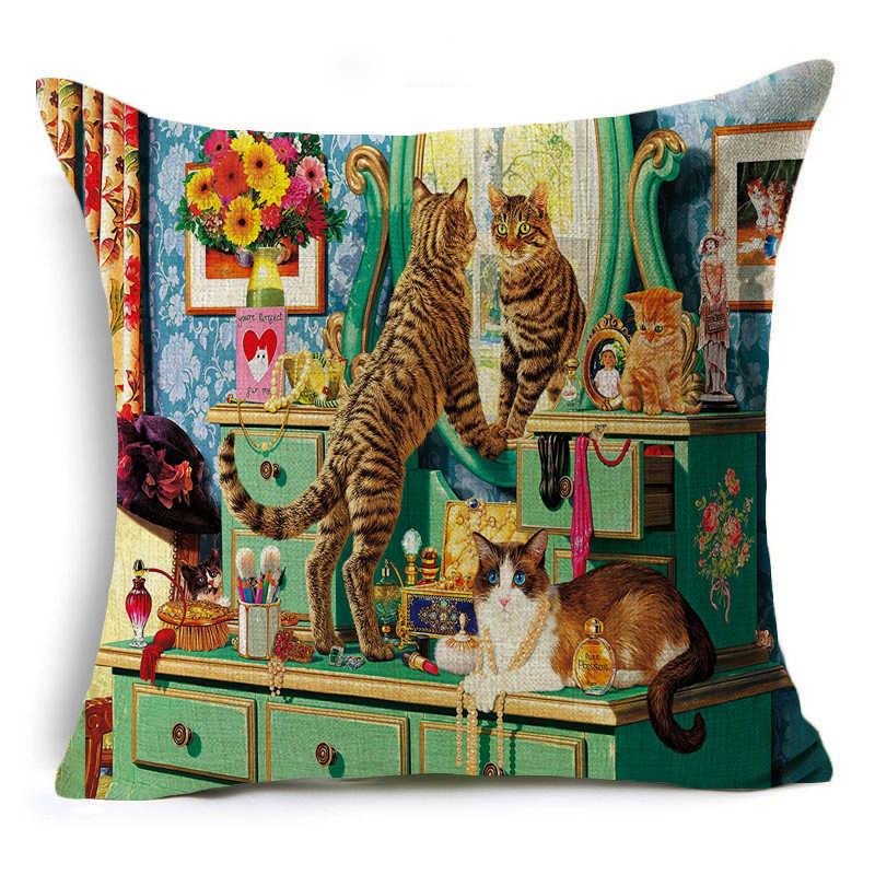 DecorUhome Preguiçosos Gatos Dos Desenhos Animados Capa de Almofada de Linho Fronha Gatinho Encantador Para Crianças Decorativo Jogar Travesseiro Caso Decoração Da Sua Casa