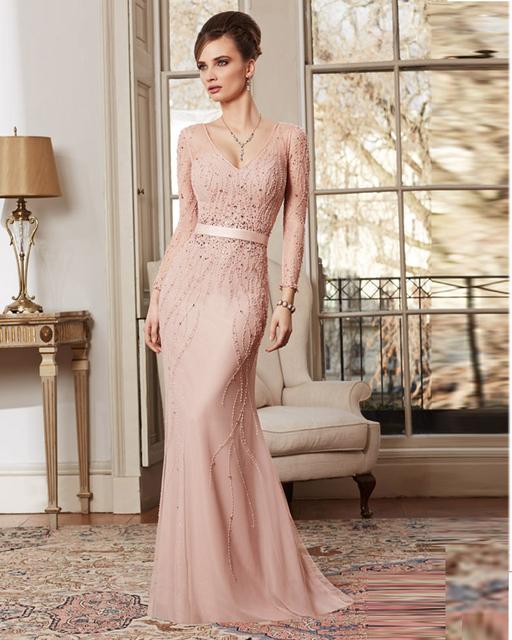 Vestido Mae Da Noiva Longo Sexy gasa madre de la novia vestidos más del tamaño 2014 en línea fiestas madrina rosa Vestido de madrina