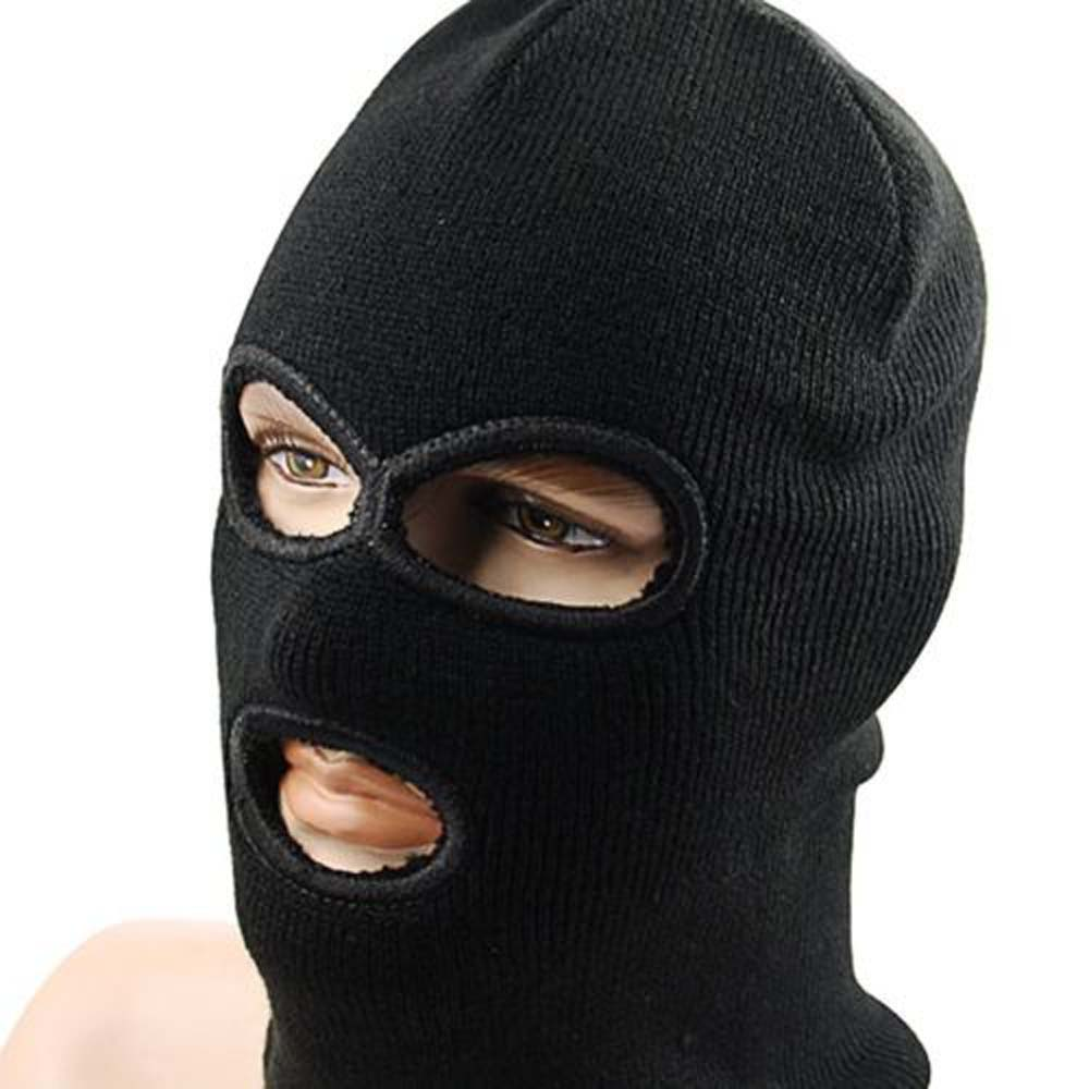 LINTOY 3 Hole Hot Mask Balaclava Black Knit Hat Face Shield Beanie Cap Snow Winter Warm men s winter warm black full face cover three holes mask cap beanie hat 4vqb