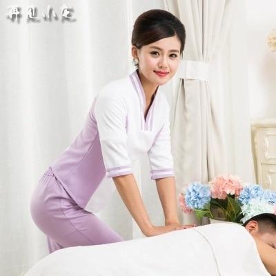 Three quarter sleeve beauty salon uniforms ladies work for Spa ladies uniform