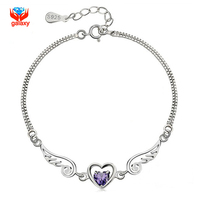 GALAXY Brand 100 925 Sterling Silver Bracelet For Women With S925 Stamp Purple Heart Zircon Charm