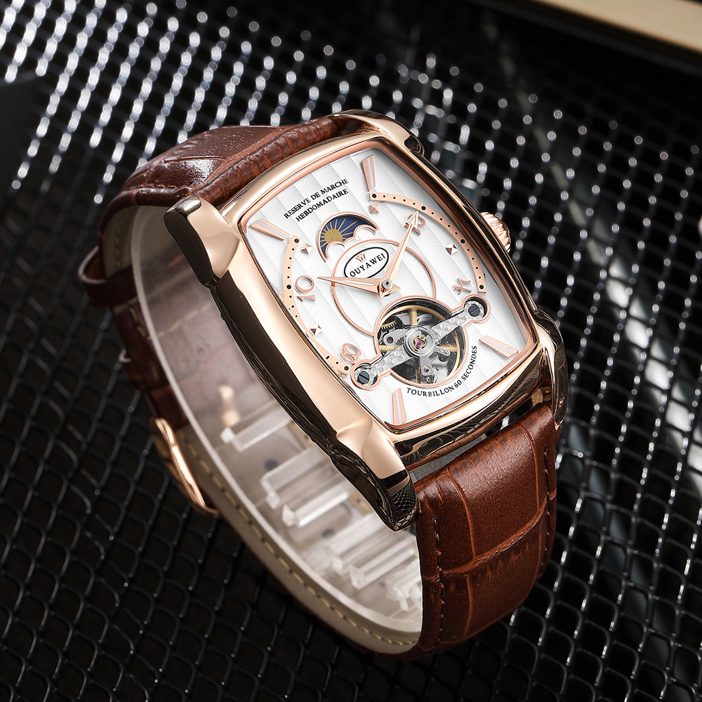 OUYAWEI Mens Watches Top Brand Luxury Tonneau Case Tourbillon Automatic Mechanical Moon Phase Male Clock Leather