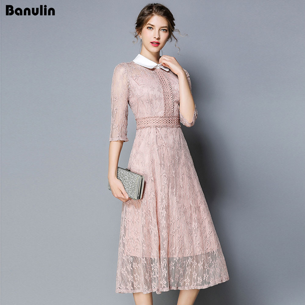 Banulin <font><b>2018</b></font> Women Autumn Hollow Out Mesh Patchwork Lace <font><b>Dress</b></font> Runway Vintage <font><b>Work</b></font> Casual Slim <font><b>Sexy</b></font> Party <font><b>Dresses</b></font> image