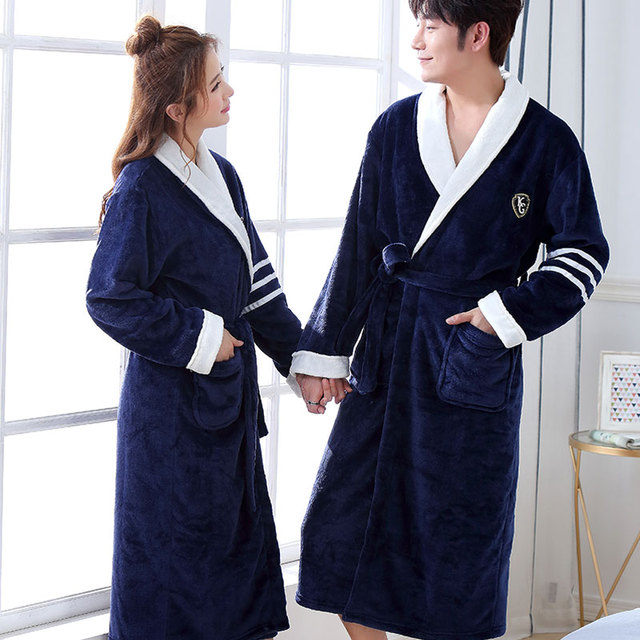 Thicken Warm Couple Style Flannel Robe Winter Long Sleeve Bathrobe Sexy V-Neck Women Men Nightgown Lounge Sleepwear Home Clothes