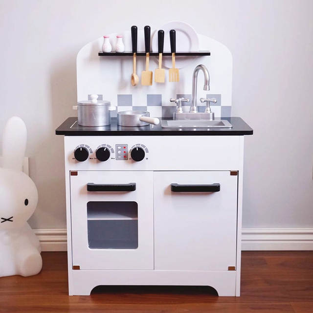 c3fe421ce37e placeholder Big Size Wooden Toy Kitchen Pretend Toy Wooden Hearth with Kitchen  Cookware Set for Kids Learning