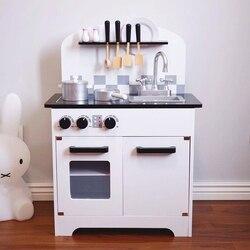 Große Größe Holz Spielzeug Küche Pretend Spielzeug Holz Herd mit Küche Kochgeschirr Set für Kinder Lernen Kochen Geburtstag Geschenk 12kg