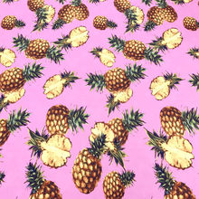 100X145cm Fashion Week Pineapple Pink Stretch Bamboo Polyester Fabric for Woman Girl Summer Dresses Shirt Sewing DIY-AF508(China)