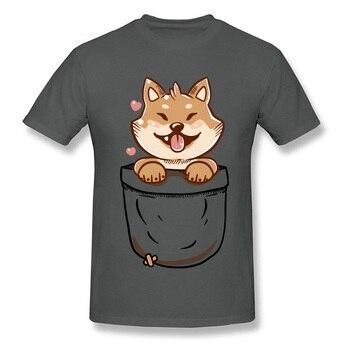 100% de algodón para hombre, camiseta Shiba Inu en tu bolsillo, camiseta Kawaii, camisetas con estampado de perro, ropa de algodón para hombre, envío gratis