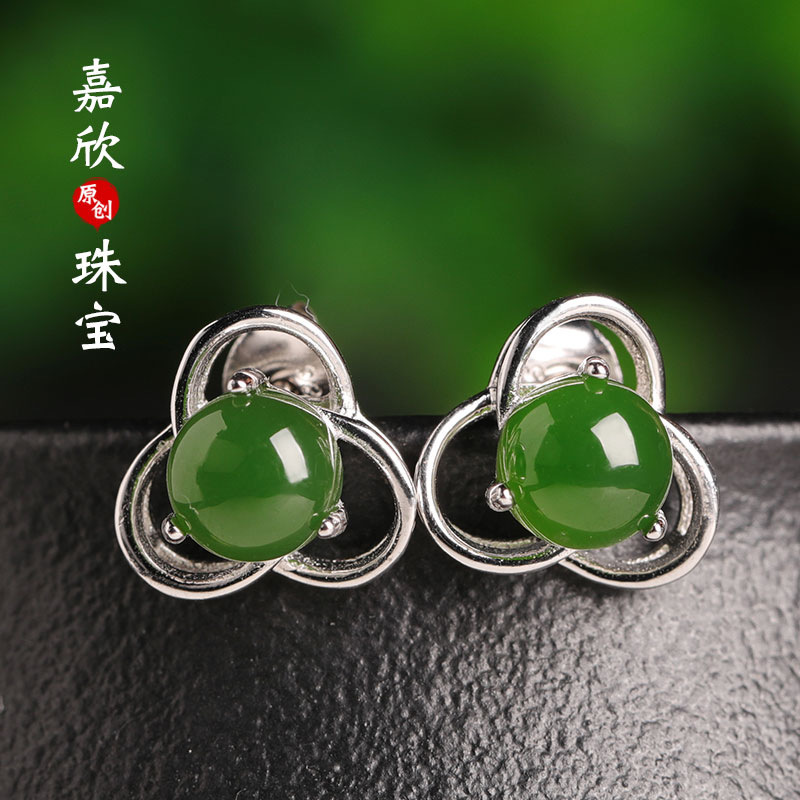2019 Limited Earings Fashion Jewelry Ear Nails Certificate Natural Greenstone Plum Blossom Ears New 925 Inlaid Hetian Jade 2019 Limited Earings Fashion Jewelry Ear Nails Certificate Natural Greenstone Plum Blossom Ears New 925 Inlaid Hetian Jade