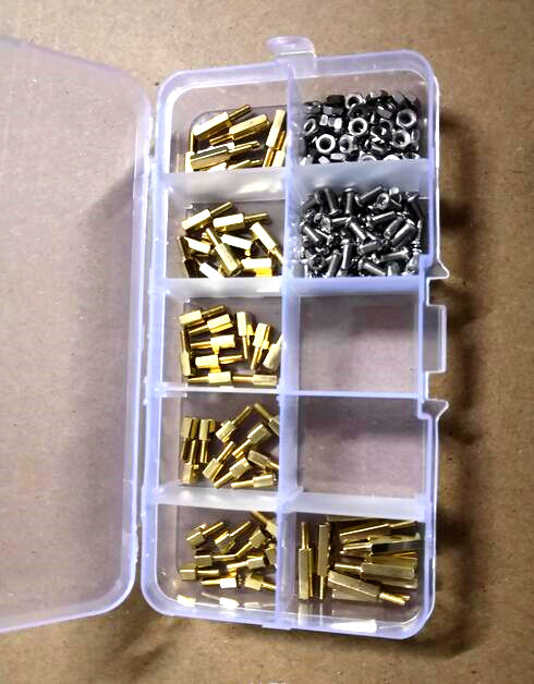 180pcs/lot M2 M2.5 M3 brass hex standoff spacer with screw nut kit