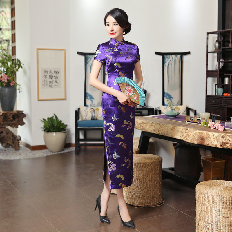 Sexy Purple Traditional Chinese Women Cheongsam Satin Rayon Long Qipao Elegant Long Slim Vestidos Evening Party Dress S-3XL 0169