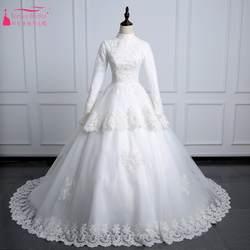 Винтаж кружевные свадебные платья Высокая шея мусульманин Свадебное платье одежда с длинным рукавом со шнуровкой сзади невесты платье