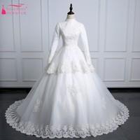 Vintage Lace Wedding Dresses High Neck Muslim Bridal Dress Long Sleeves Lace Up Back Bride Gown