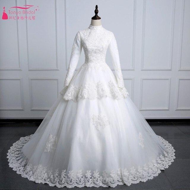 Aliexpress.com : Buy Vintage Lace Wedding Dresses High Neck Muslim ...