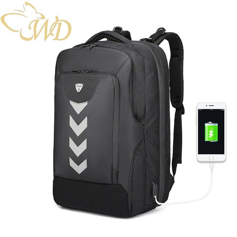 Anti-vol d'affaires sac à dos hommes usb rechargeable étanche sac à dos multi-fonction affaires ordinateur sac à dos loisirs voyage