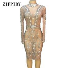 Блестящее Сетчатое платье с большими кристаллами, вечернее платье для вечеринки, костюм для дня рождения, для певицы, для танцев, YOUDU