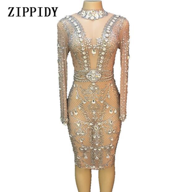 Paillettes gros cristaux maille Perspective robe robes de soirée fête d'anniversaire célébrer Costume chanteur Performance danse YOUDU