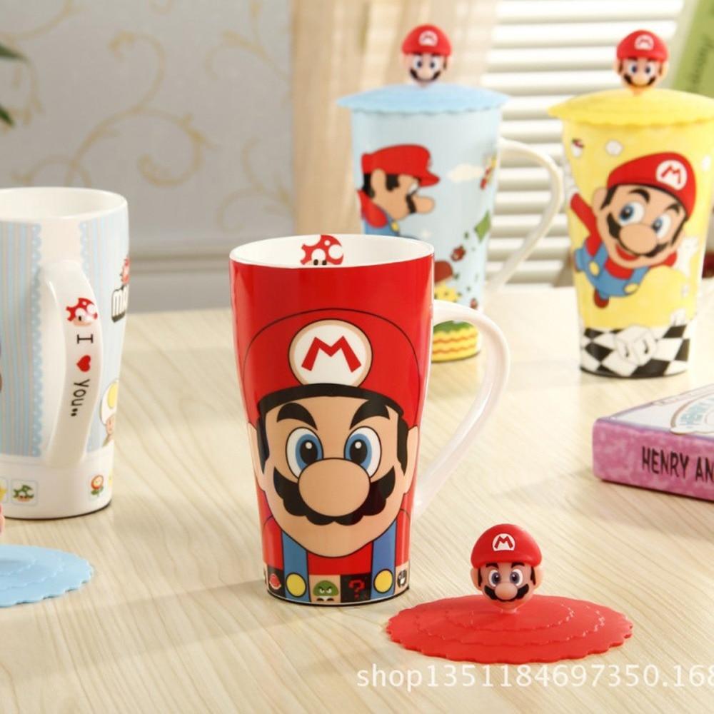 1Pcs New KEYAMA Super Mario cartoon ceramic breakfast milk mug with Silicone lid Office coffee cups