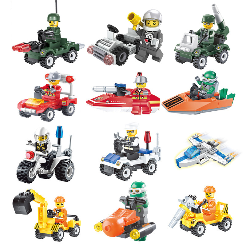 City Series Police Fire Fighting Mini Educational Building Blocks Toys Compatible With <font><b>legoingly</b></font> City Team for Children Gift Toy image