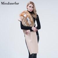 Women Real Fox Fur Scarf Hotsale Shawl 100% Wool Cashmere Luxury