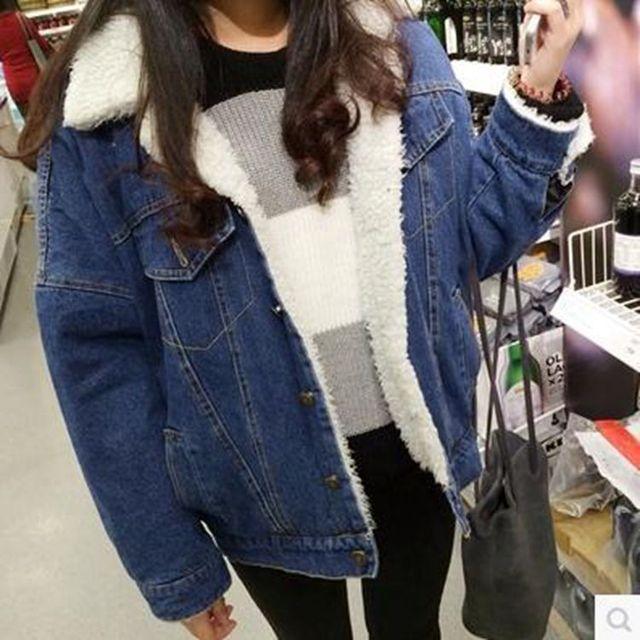 Женская новый большой размер толстый зимний Бомбардировщик Куртка женская джинсовая куртка хлопка женщин хлопок короткий жакет женщины основные пальто