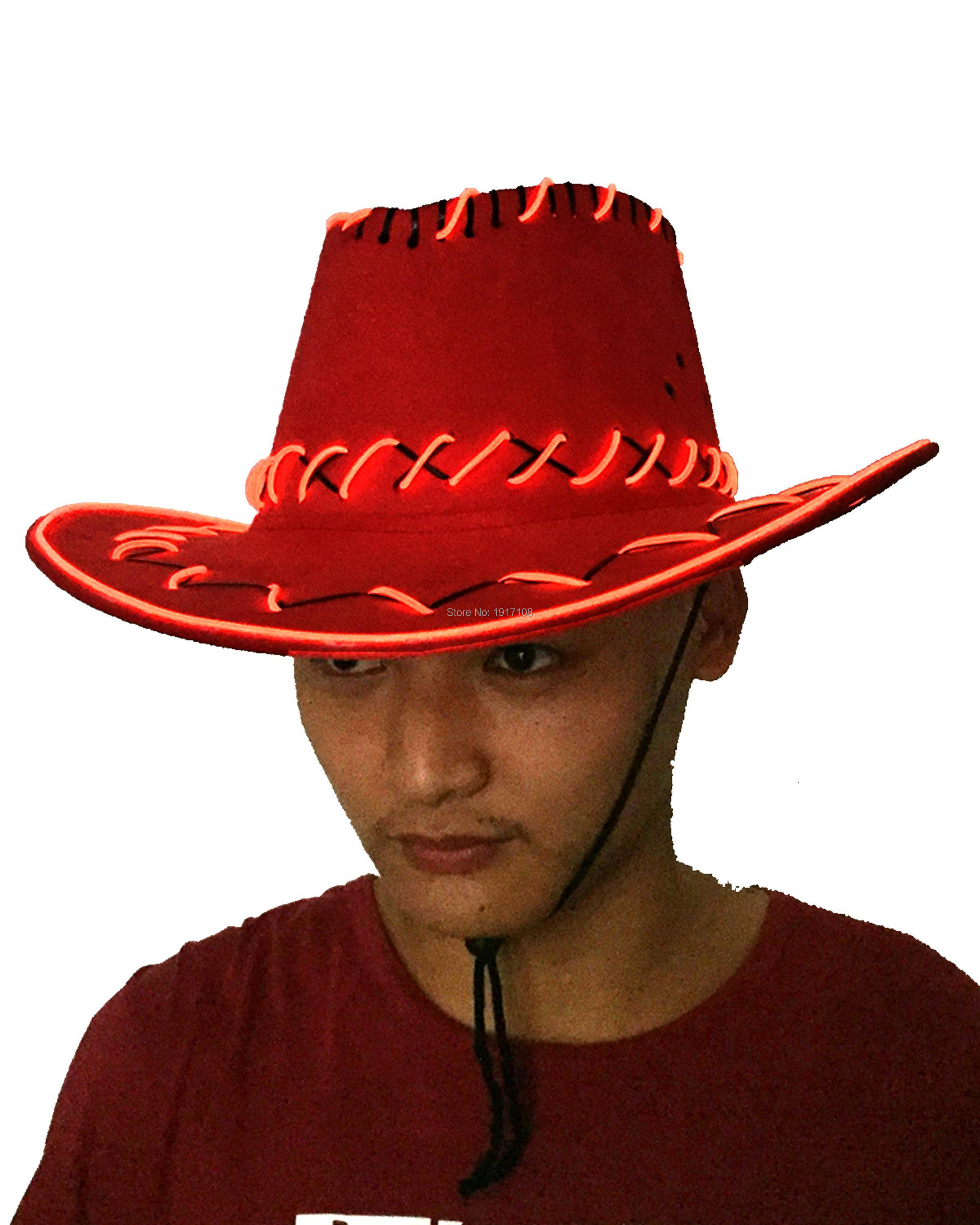 2017 Hot SalesRed Color Glowing Party Hat Lighting hat men Gift Cowboy Hats LED Cap For Wedding Decoration Free shipping