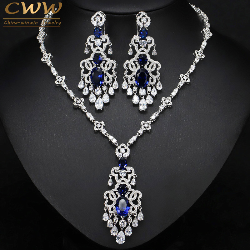 CWWZircons Top Quality Royal Blue Cubic Zirconia African Big Statement Earring Necklace Set For Women Evening Party Jewelry T276 champion t276 page 5