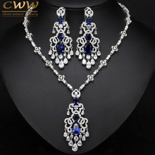 CWWZircons Top Quality Royal Blue Cubic Zirconia African Big Statement Earring Necklace Set For Women Evening Party Jewelry T276