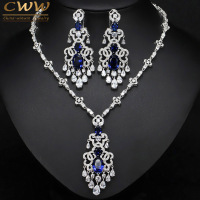 Top Quality Royal Blue Cubic Zirconia African Big Statement Earring Necklace Set For Women Evening Party