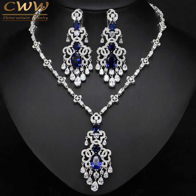 Top Quality Royal Blue Cubic Zirconia African Big Statement Earring Necklace Set For Women Evening Party Jewelry T276
