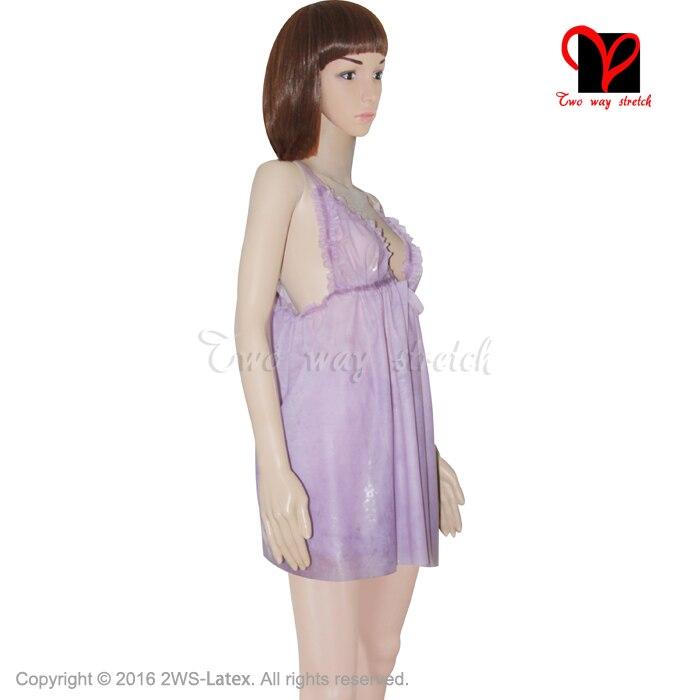 Sexy Transparent violet Latex déshabillé Pyjama nuisette lingerie caoutchouc Pyjama nuisette Pyjamas Camisole nuisette plus NY 006 - 3