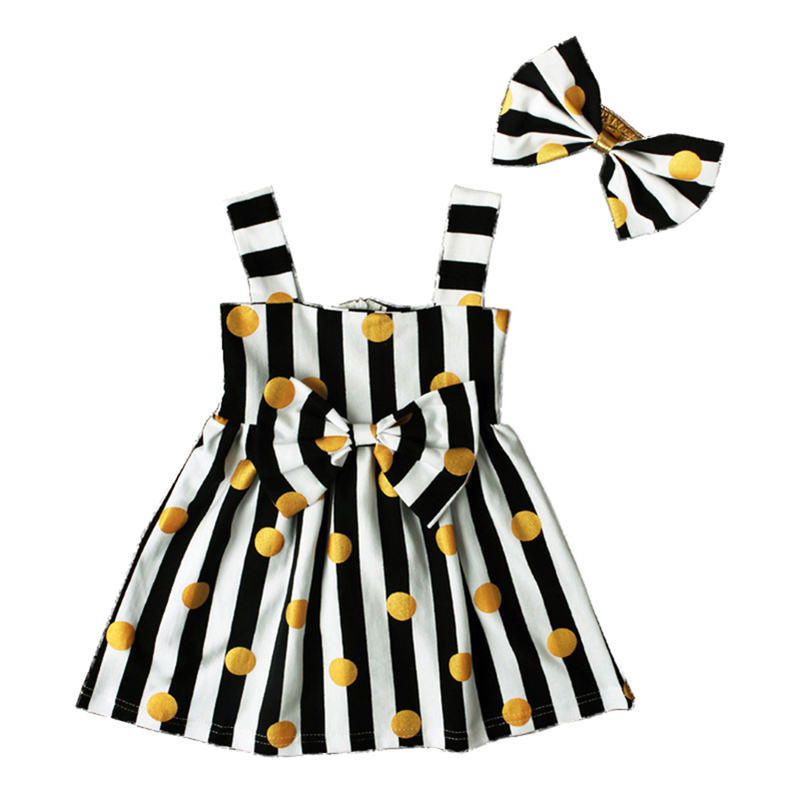 Baby clothing cute summer style newborn Birthday princess dresses for girls clothes stripe dot sleeveless baby dress+headband in