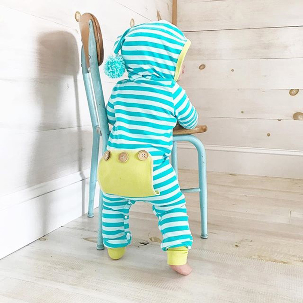 Autumn Cotton Cute Newborn Infant Baby Boys Girls Striped Blue And White Long Sleeve Hoodies Romper Jumpsuit Outfits Clothes Mother & Kids