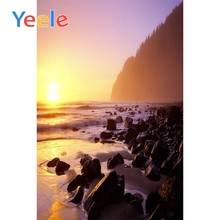 Yeele Seaside Sunset View Photographic Backdrops Stone Island Waves Mountain Photography Backgrounds Customized For Photo Studio