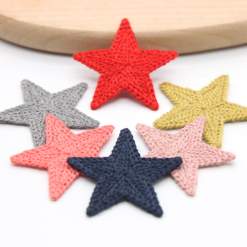 34mm 10pcs/pack Mini Cotton Pentagram for Party Home Hat Shoes Clothing backpack Decoration Crafts DIY Handmade Accessories