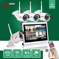 ANRAN P2P 4CH 1080P 12 Inch LCD Monitor WIFI NVR 24IR Waterproof Mini Wireless IP Surveillance