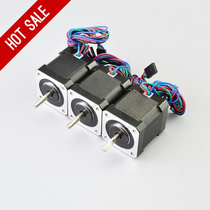 3 piezas Nema 17 Stepper Motor 48mm 59Ncm/84oz. en 4 Plomo Nema17 paso 2A 1 m Cable para DIY 3D impresora CNC Robot